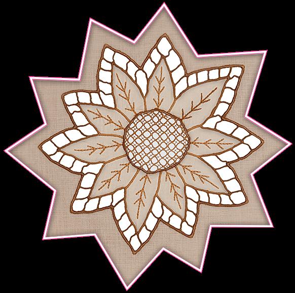 Taba renkli delik işi runner masa yıldız yaprak desenleri detayı